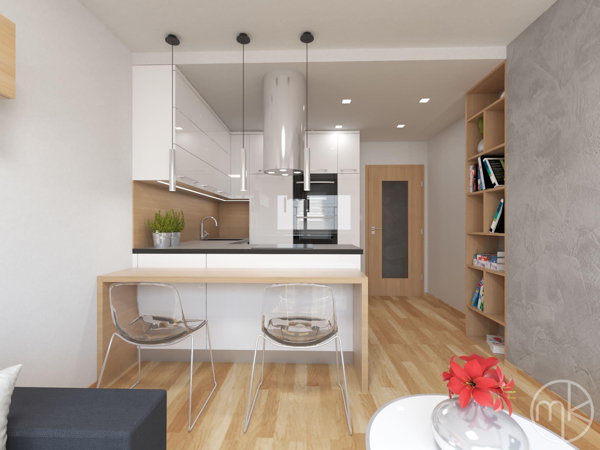 Pokojem 06 2013 návrh interiéru kuchyně a obývacího pokoje malý