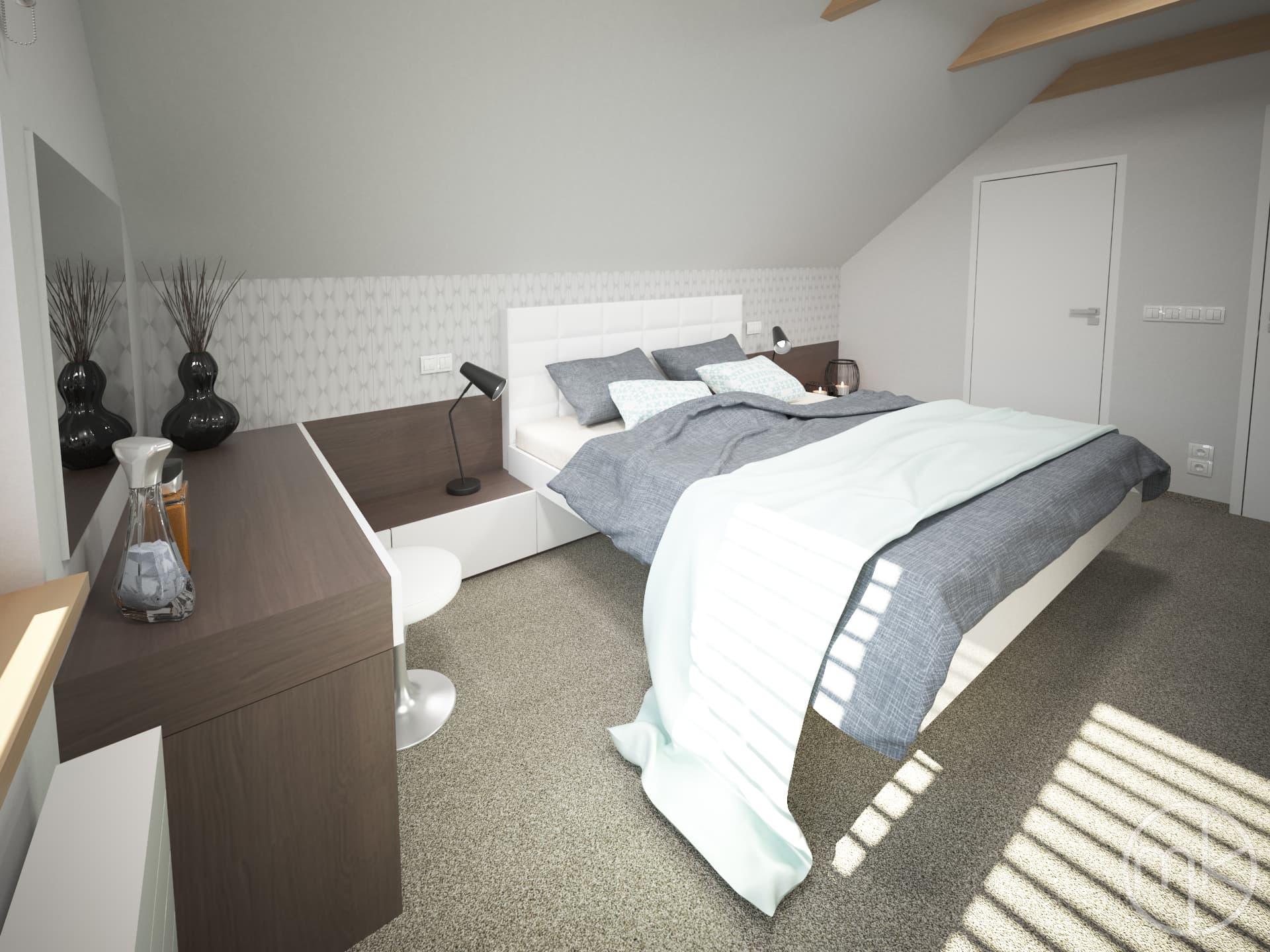 Polstrovaná postel v ložnici