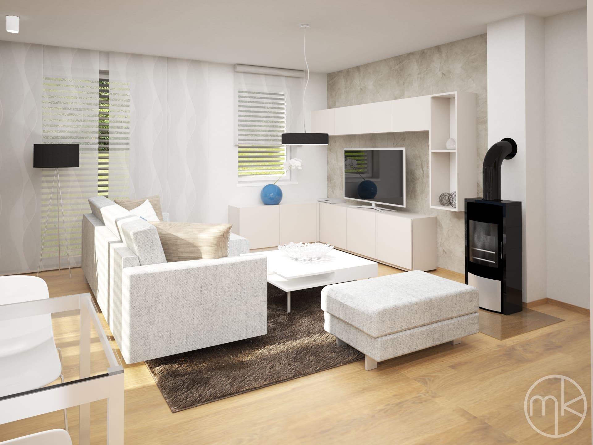 Televizní sestava vedle krbu v obývacím pokoji